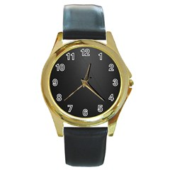 Leather Stitching Thread Perforation Perforated Leather Texture Round Gold Metal Watch by Simbadda