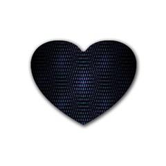 Hexagonal White Dark Mesh Rubber Coaster (heart)  by Simbadda