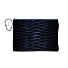 Hexagonal White Dark Mesh Canvas Cosmetic Bag (m) by Simbadda