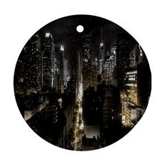 New York United States Of America Night Top View Ornament (round) by Simbadda