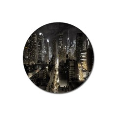 New York United States Of America Night Top View Magnet 3  (round) by Simbadda
