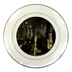 New York United States Of America Night Top View Porcelain Plates by Simbadda