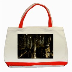 New York United States Of America Night Top View Classic Tote Bag (red) by Simbadda