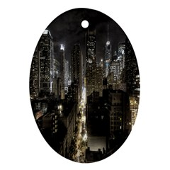 New York United States Of America Night Top View Oval Ornament (two Sides) by Simbadda