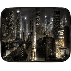 New York United States Of America Night Top View Double Sided Fleece Blanket (Mini)  by Simbadda