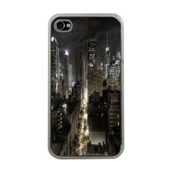 New York United States Of America Night Top View Apple Iphone 4 Case (clear) by Simbadda
