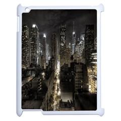 New York United States Of America Night Top View Apple Ipad 2 Case (white) by Simbadda