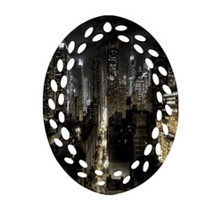New York United States Of America Night Top View Ornament (oval Filigree) by Simbadda