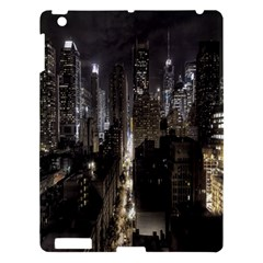 New York United States Of America Night Top View Apple Ipad 3/4 Hardshell Case by Simbadda