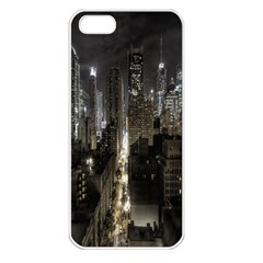 New York United States Of America Night Top View Apple Iphone 5 Seamless Case (white) by Simbadda