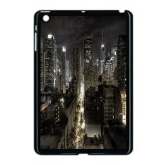 New York United States Of America Night Top View Apple iPad Mini Case (Black) by Simbadda