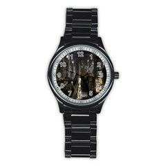 New York United States Of America Night Top View Stainless Steel Round Watch by Simbadda