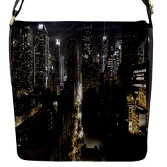 New York United States Of America Night Top View Flap Messenger Bag (s) by Simbadda