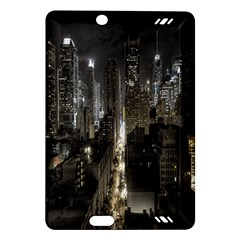 New York United States Of America Night Top View Amazon Kindle Fire Hd (2013) Hardshell Case by Simbadda