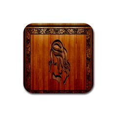 Pattern Shape Wood Background Texture Rubber Square Coaster (4 Pack)  by Simbadda