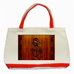 Pattern Shape Wood Background Texture Classic Tote Bag (red) by Simbadda