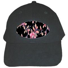 Neon Flowers Black Background Black Cap by Simbadda