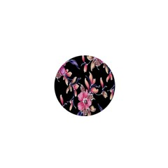 Neon Flowers Black Background 1  Mini Buttons by Simbadda