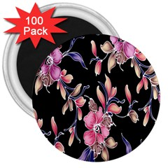 Neon Flowers Black Background 3  Magnets (100 Pack) by Simbadda