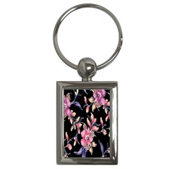 Neon Flowers Black Background Key Chains (rectangle)  by Simbadda