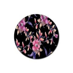 Neon Flowers Black Background Rubber Round Coaster (4 Pack)  by Simbadda