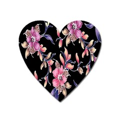 Neon Flowers Black Background Heart Magnet by Simbadda