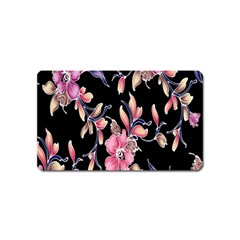 Neon Flowers Black Background Magnet (name Card) by Simbadda