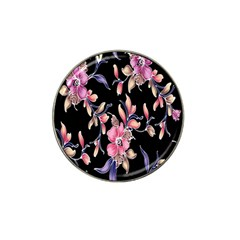 Neon Flowers Black Background Hat Clip Ball Marker (10 Pack) by Simbadda