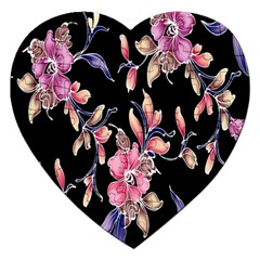 Neon Flowers Black Background Jigsaw Puzzle (heart) by Simbadda