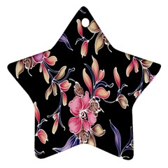 Neon Flowers Black Background Star Ornament (two Sides) by Simbadda