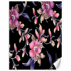 Neon Flowers Black Background Canvas 12  X 16   by Simbadda
