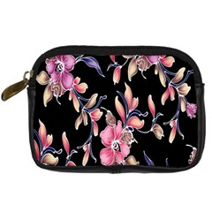 Neon Flowers Black Background Digital Camera Cases by Simbadda