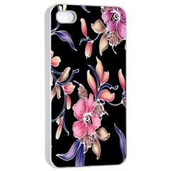 Neon Flowers Black Background Apple Iphone 4/4s Seamless Case (white) by Simbadda