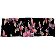 Neon Flowers Black Background Body Pillow Case Dakimakura (two Sides) by Simbadda