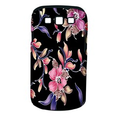 Neon Flowers Black Background Samsung Galaxy S Iii Classic Hardshell Case (pc+silicone) by Simbadda
