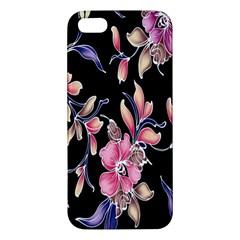 Neon Flowers Black Background Iphone 5s/ Se Premium Hardshell Case by Simbadda