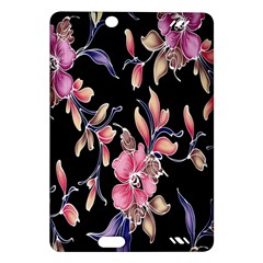 Neon Flowers Black Background Amazon Kindle Fire Hd (2013) Hardshell Case by Simbadda