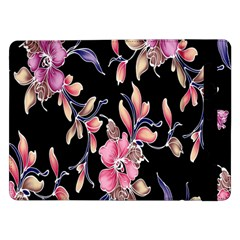 Neon Flowers Black Background Samsung Galaxy Tab Pro 12 2  Flip Case by Simbadda