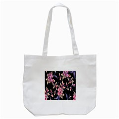 Neon Flowers Black Background Tote Bag (white) by Simbadda