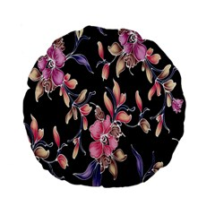 Neon Flowers Black Background Standard 15  Premium Flano Round Cushions by Simbadda
