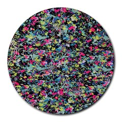 Neon Floral Print Silver Spandex Round Mousepads