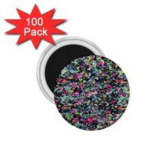 Neon Floral Print Silver Spandex 1 75  Magnets (100 Pack)  by Simbadda