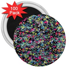 Neon Floral Print Silver Spandex 3  Magnets (100 Pack) by Simbadda