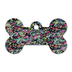 Neon Floral Print Silver Spandex Dog Tag Bone (two Sides) by Simbadda