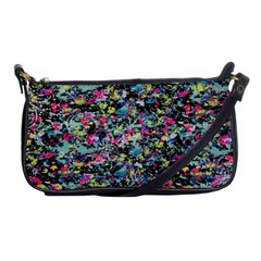 Neon Floral Print Silver Spandex Shoulder Clutch Bags by Simbadda