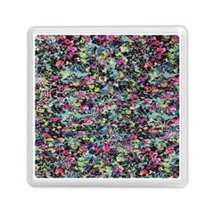 Neon Floral Print Silver Spandex Memory Card Reader (square)  by Simbadda