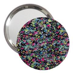 Neon Floral Print Silver Spandex 3  Handbag Mirrors by Simbadda