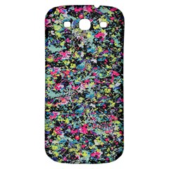 Neon Floral Print Silver Spandex Samsung Galaxy S3 S Iii Classic Hardshell Back Case by Simbadda