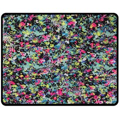 Neon Floral Print Silver Spandex Double Sided Fleece Blanket (medium)  by Simbadda