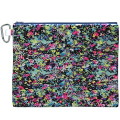 Neon Floral Print Silver Spandex Canvas Cosmetic Bag (xxxl) by Simbadda